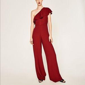 Zara burgundy asymmetrical jumpsuit